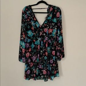 Express Floral Sheer Overlay Dress